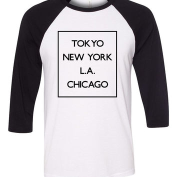 "5 Seconds of Summer 5SOS ""Money - Tokyo NY LA Chicago"" Box Baseball Tee"