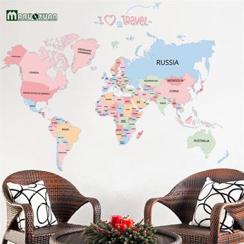 2016 New Arrival Colorful Letter World Map Wall Stickers Removable Art Decals Living Room Office Decoration Kids Room Home Decor