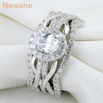 Newshe Oval Shape CZ 3 Pcs Solid 925 Sterling Silver Halo Wedding Ring Set Engagement Band Fashion Jewelry For Women