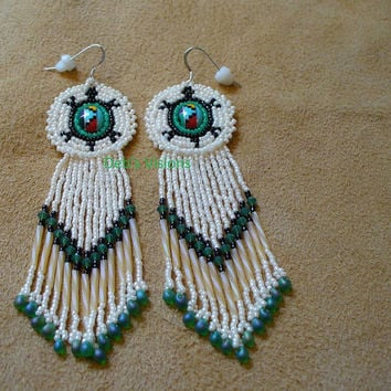 Native American Style Rosette beaded Turtle earrings in Off White and Opal Jade Green
