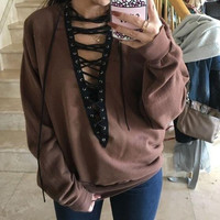 V-Neck Hollow Solid Color Strappy Long Sleeve Loose Blouse Top Sweater