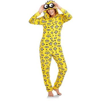 Juniors Minion One Piece Hooded Pajamas - Walmart.com