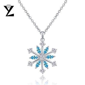 YL Snowflake Pendants 925 Sterling Silver Necklaces for Women Fine Jewelry  Christmas Gift Wedding Engagement Best 537b543cb0a7