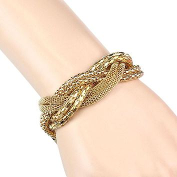 Fashion Girls Hot Fancy Chain Stunning Golden Twisted Alloy Bracelet