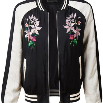 LE3NO Womens Ultra Lightweight Floral Embroidery Zip Up Bomber Jacket