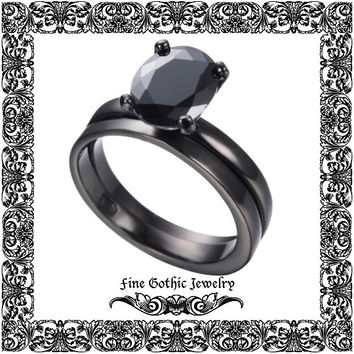 Gothic Wedding Rings | Black Wedding Ring | Classic 1.5Ct Oval Black Cz Black Gold Filled Ring Set | Size 6 7 8 9 10 #155-bk