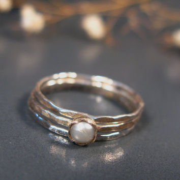 Freshwater pearl rings, sterling stack rings set of 3, hammered silver rings