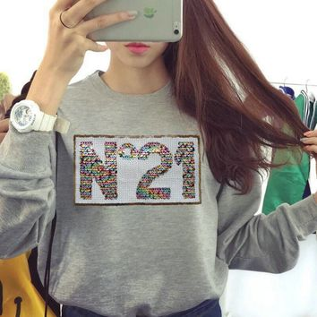 New sequins N. 21 letter sweater Women
