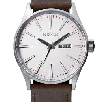 Nixon Sentry Leather - Silver/Brown