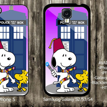 Snoopy Tardis Doctor Who  iPhone 4 / 4S case iPhone 5 case Samsung Galaxy S3 case Samsung Galaxy S4 case