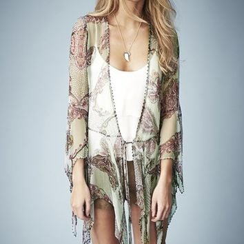 Kate Moss for Topshop Draped Paisley Tie Blouse