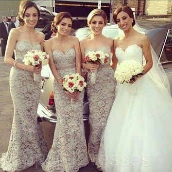 Gray Mermaid Long Mermaid Bridesmaid Dress Sexy Sweetheart High Quality Custom Made Elegant Mermaid Lace Bridesmaid Dress