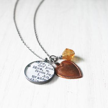 Love-ly Hearts Necklace - dictionary word love valentines day copper charm resin pendant on sterling silver chain - hand-stamped jewelry