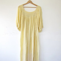70s flutter dress • light yellow grecian dress • moo moo dress