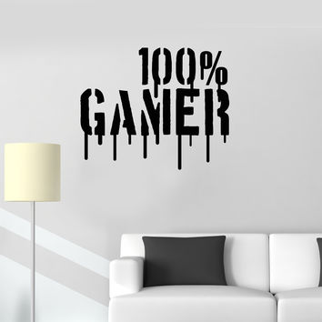 Wall Vinyl Decal Gamer Video Games Playroom for Boys 100% Gamer Man Cave Sticker (ig2655)