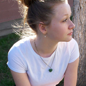 Love - Green Aventurine Aged Brass And Sterling Silver Necklace