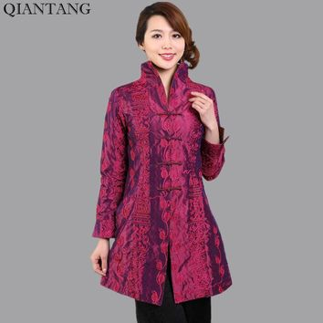 Fashion Purple Spring Chinese Women Satin Long Jacket Embroidery Coat Mujer Chaqueta Plus Size S M L XL XXL XXXL 4XL 5XL Mny001C