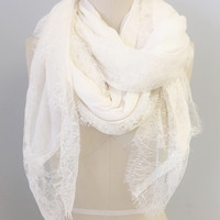 Elegant Cotton Lace Scarf