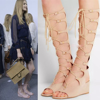 2016 new fashion elegant Roman lace up sandal for summer knee length = 4777290628