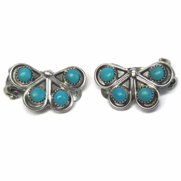 Vintage Sterling Zuni Turquoise Clip On Earrings