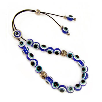 Evil Eye Komboloi, Greek Worry Beads, Blue Acrylic Eye Komboloi, Metal Master Bead