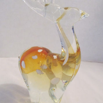 Murano Art hand blown glass scuplture white spotted amber  deer paperweight figurine
