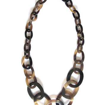Long horn chain link necklace, link necklace, black statement necklace, fashion, jewelry, organic horn, natural