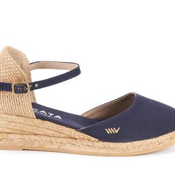 Canet Canvas Espadrille Wedges - Navy