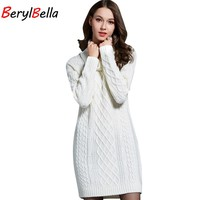 BerylBella Women Sweaters Pullovers Turtleneck Long Sleeve Sweater Dress 2017 Summer Knitting Women's White Warm Sweater Clothes