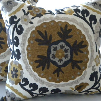 Brown Suzani Decorative Pillow 16 x 16  Grey Brown