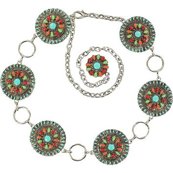 Nocona Women's Colorful Large Circular Conchos Belt
