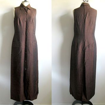 Vintage 1990s Shirt Dress Lida Baday Bark Brown Linen Blend Button Down Maxi Boho Dress Medium