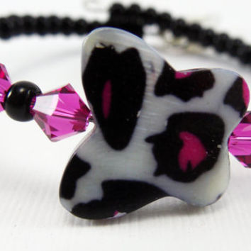 Hot Pink Butterfly Girl's Beaded Bracelet, Kid's Bracelet, Memory Wire Bracelet, Gifts for Easter, Bracelets for Girls, Spring Jewelry