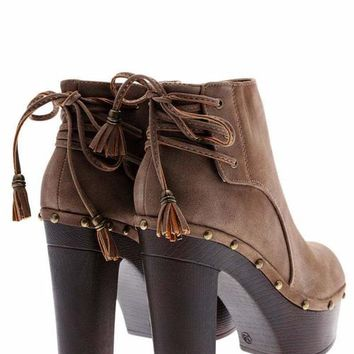 Laced Back Khaki Clog Ankle Boots