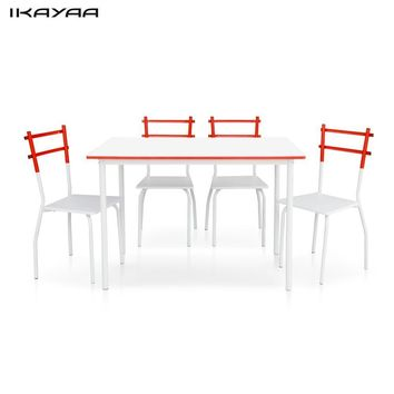 iKayaa 5PCS Modern Dining Set Metal  Dining Table with 4 Chairs Set Home Kitchen Furniture for 4 Person