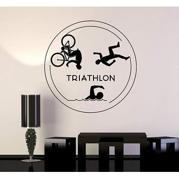 Vinyl Wall Decal Triathlon Sports Running Swimming Cycling Stickers Unique Gift (ig4841)