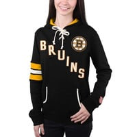 Boston Bruins Old Time Hockey Women's Nadia Lace-Up Pullover Hoodie – Black