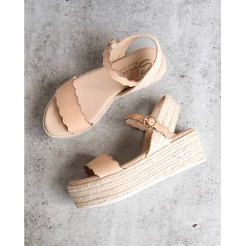 Sbicca Charasmatic Espdadrille Scalloped Edge Ankle Strap Sandal in Natural