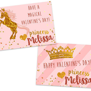 Unicorn Valentines - Personalized Pink and Gold Classroom Valentine Cards - School Valentines Day - Tiara - Glitter Magical Royal Country