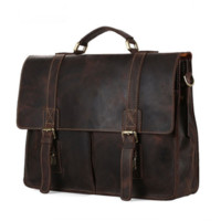 Handmade Vintage Genuine Leather Briefcase Messenger Bag (C08)