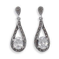 Marcasite Post Earrings with Oval Cubic Zirconia Drop