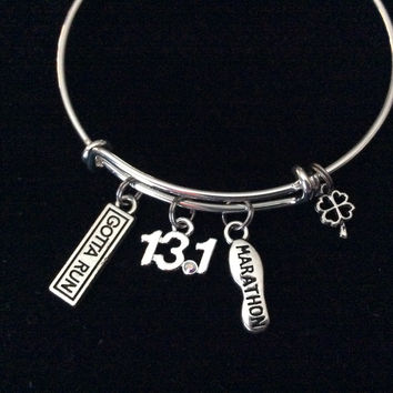 Gotta Run 13.1 Marathon With Luck Silver Expandable Adjustable Bracelet Bangle Silver Wire Bangle Half Trendy Stacking