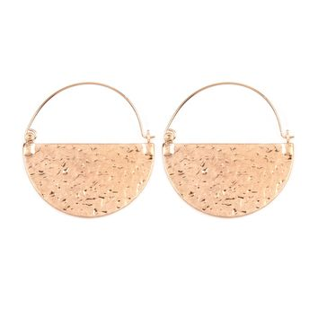 Hammered Plate Hoop Earrings