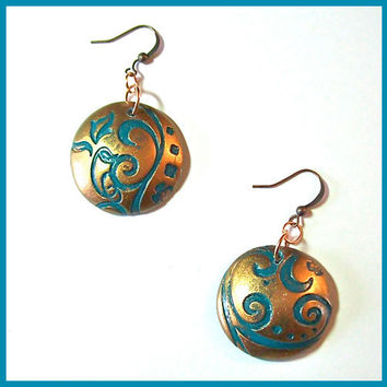 Copper and Turquoise Earrings Polymer Clay Swirl Pattern Art Nouveau Style Handcrafted 1 1/4 in.