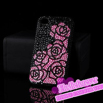 Bling Bling Full Diamond Romantic iPhone 4 Case Rhinestone Crystals Pink Rose Swarovski iPhone 4S Case Red Rose iPhone 5 Case A46: 2 Colors