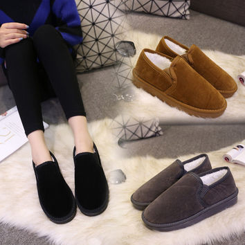 Hot Deal On Sale Korean Flat Winter Couple Cotton Shoes Plus Size Boots [9432933898]