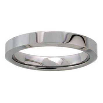 "Tungsten 4 mm (5/32"") High Polish Flat Band / Thumb Ring."
