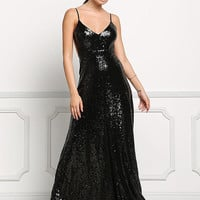 Black Long Slip Sequin Dress