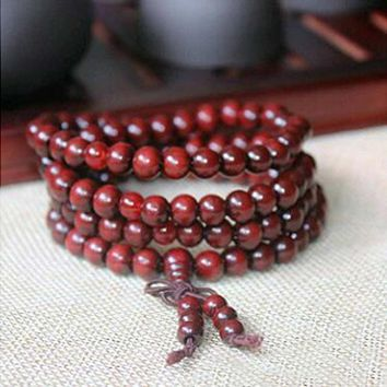 6mm Natural Sandalwood Buddhist Buddha Meditation 108 beads Wood Prayer Bead Mala Bracelet Women Men jewelry