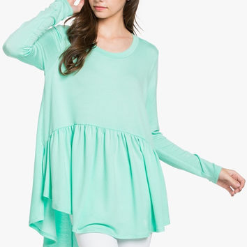 French Terry Babydoll Tunic Pepper Mint